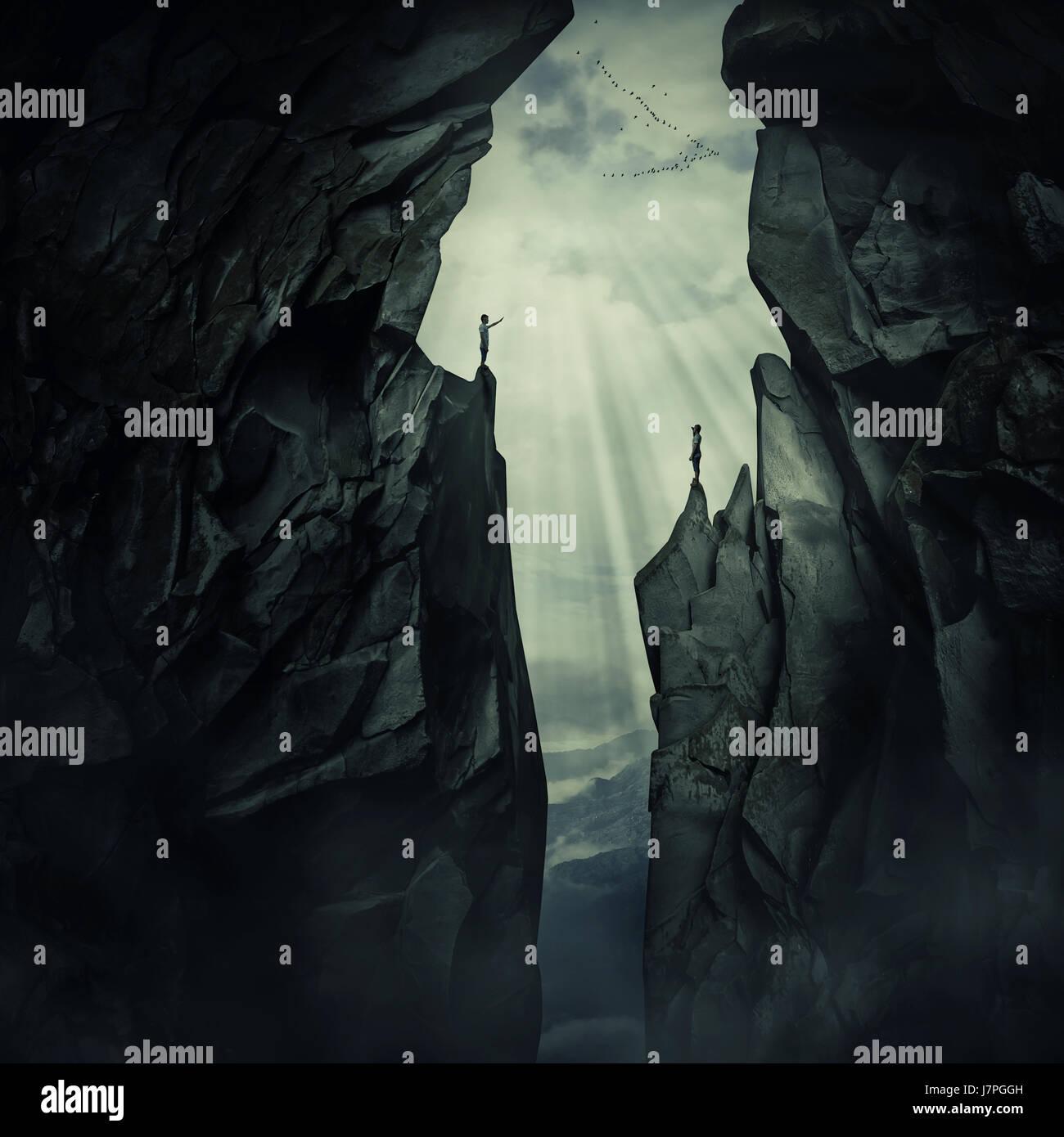 Immagine concettuale con due persone smarrite in piedi sul bordo di montaggio diversi picchi, cercando di trovare Immagini Stock