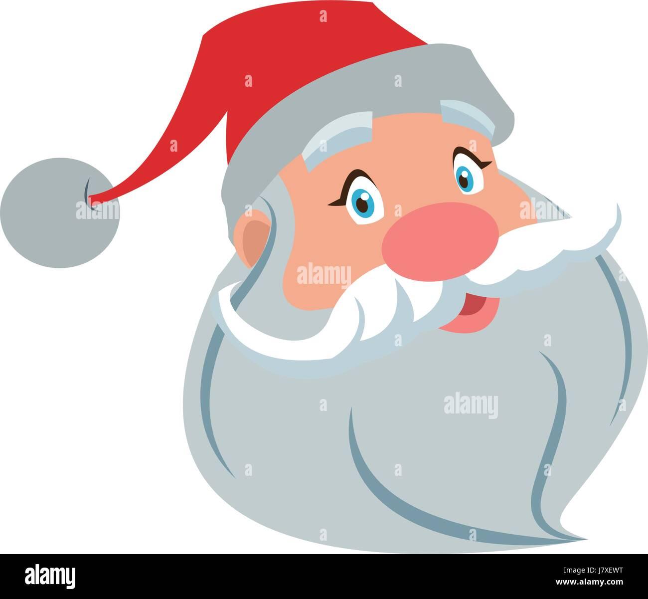 Babbo Natale faccia con barba e cappello. cartoon carattere natale carino  padre frost illustrazione vettoriale 7e7a224bf862