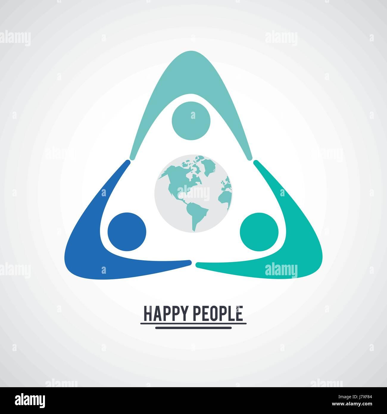 Il colore del lavoro di squadra le persone felici con pittogramma tenendo le mani con la terra al centro Illustrazione Vettoriale