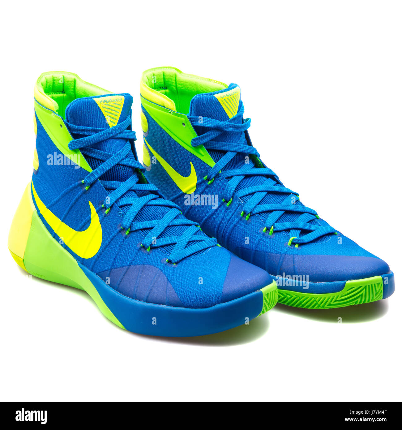 new concept 6b1db 516cc usa nike hyperdunk 2015 uomini blu giallo e verde basketball sneakers  749561 473 immagini stock 70aa6