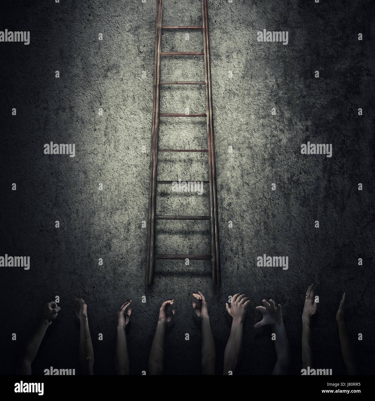 Idea astratta nozione come un sacco di mani umane tesa a raggiungere una scaletta e fuggire da una stanza buia prigione. Immagini Stock