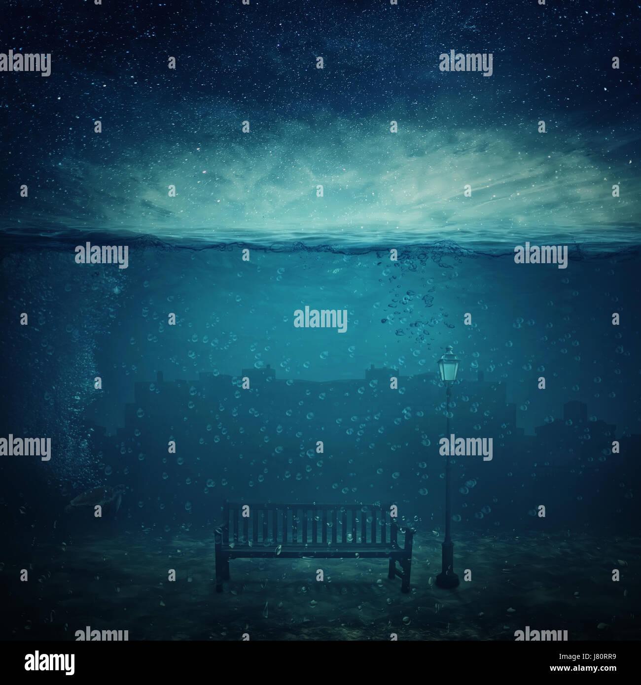 Underwater fantasy world. Città moderna resti sotto il mare e una panca in legno con un lampione affogato. Immagini Stock