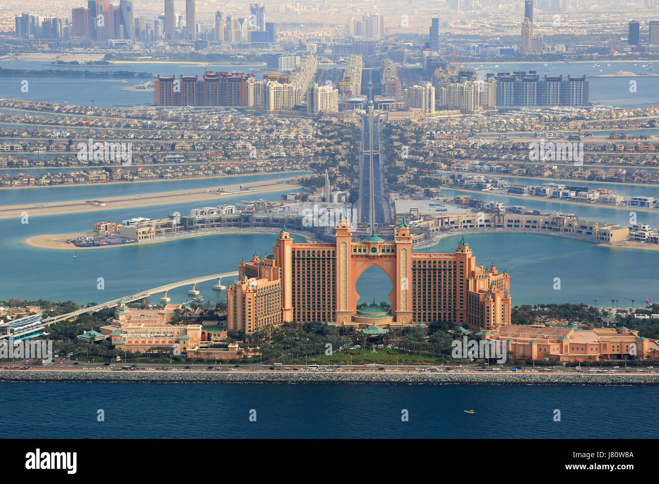 Dubai palm island atlantis hotel vista aerea fotografia emirati arabi uniti Immagini Stock