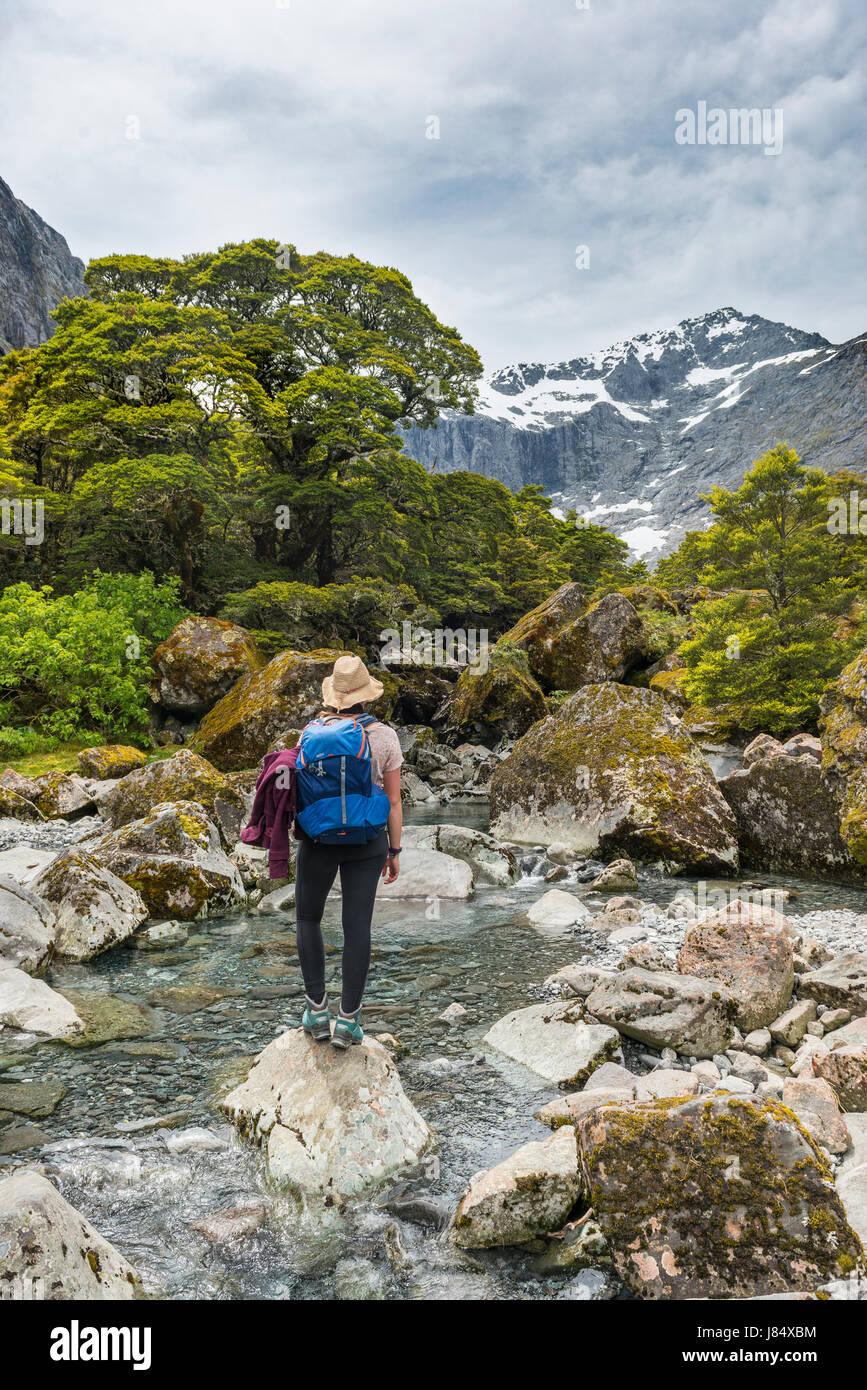 Escursionista femmina su una roccia nel fiume, Parco Nazionale di Fiordland, Southland, Nuova Zelanda Immagini Stock
