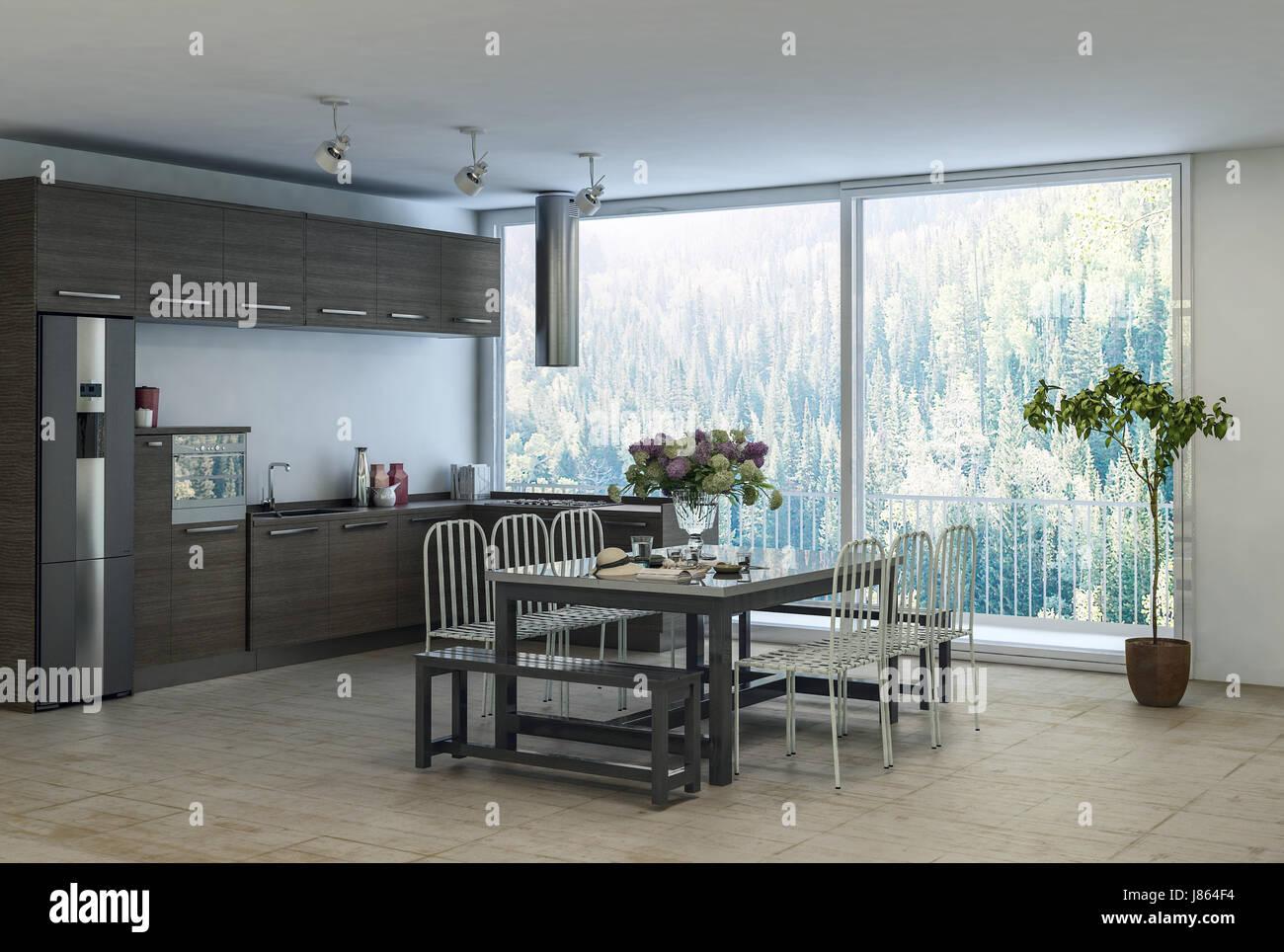 Mobiletto Sala Da Pranzo moderna sala da pranzo alla moda della zona cucina in un