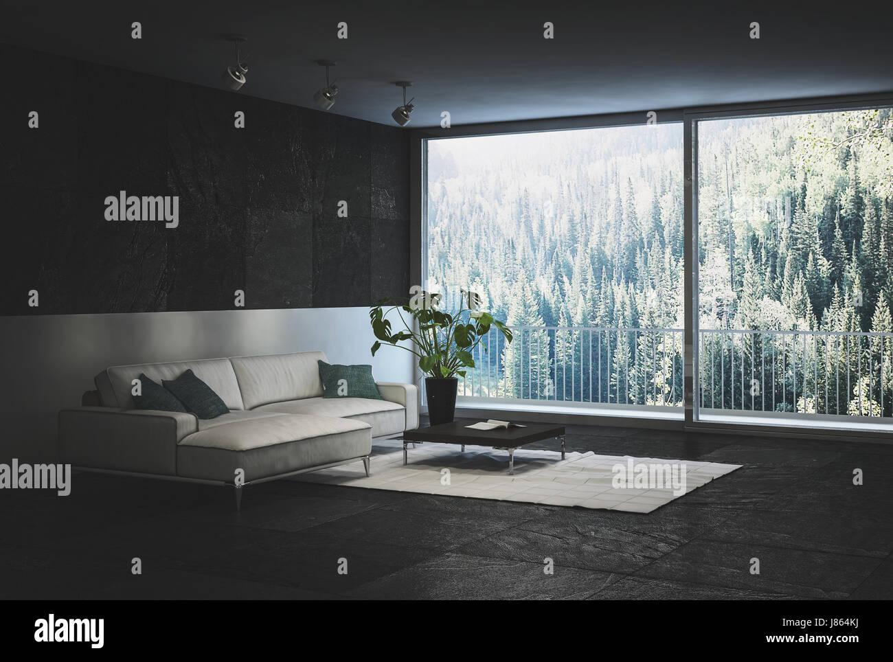 Design nero elegante salotto interno con pareti in piastrelle e