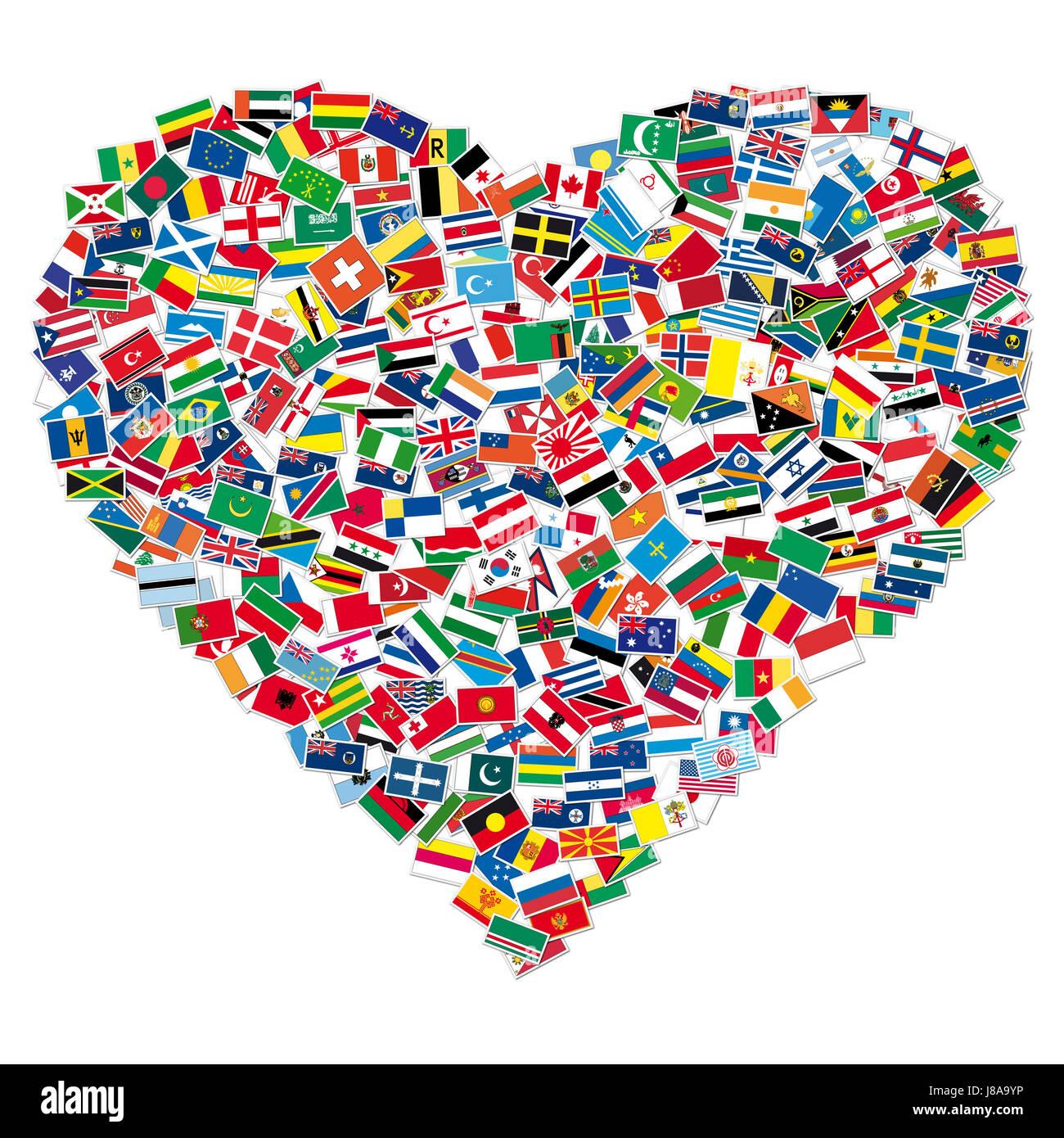 Cuore Bandiera Bandiere Paesi Globe Il Pianeta Terra Mondo