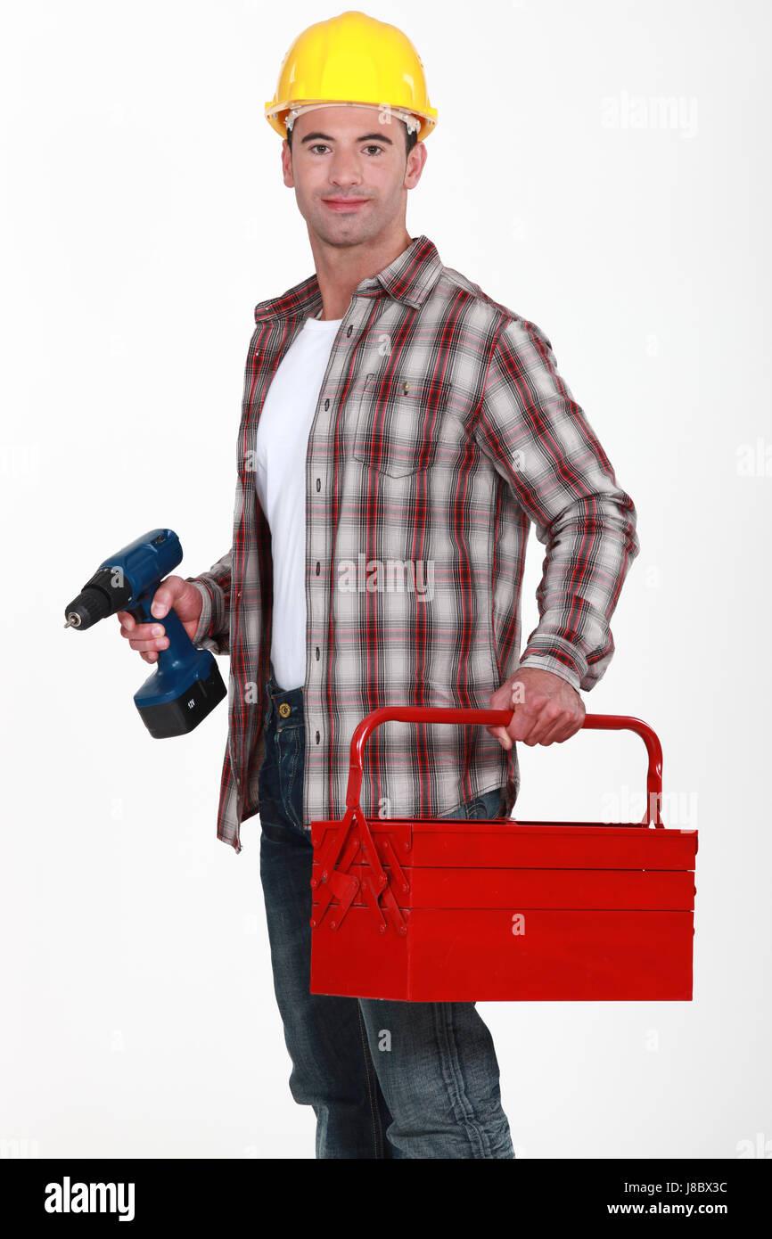 Blu, il collare, falegname, fornitore, imprenditore, builder, allegati Immagini Stock