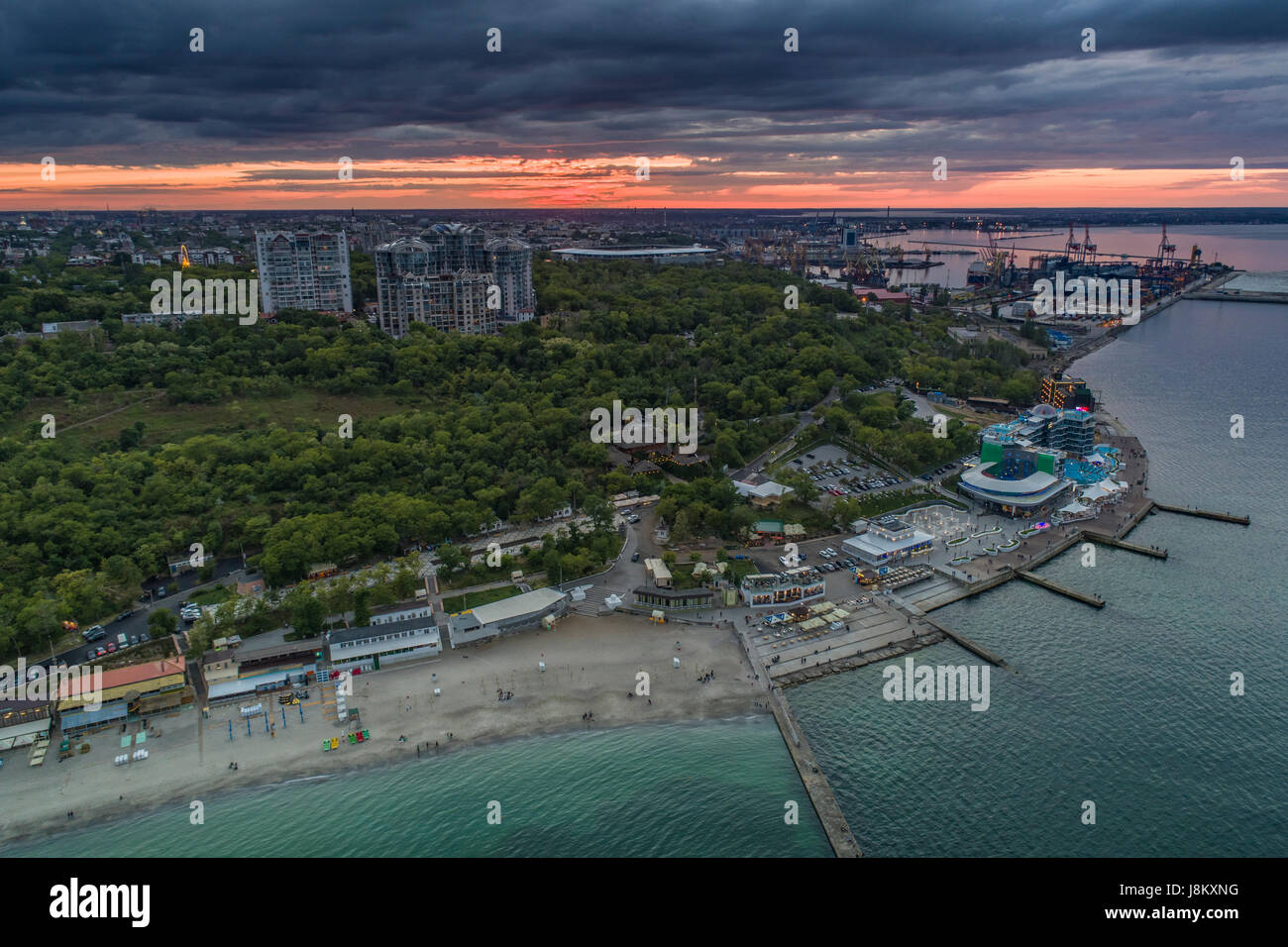 Antenna fuco immagine di langeron beach e parco shevchenka in Odessa Ucraina Foto Stock