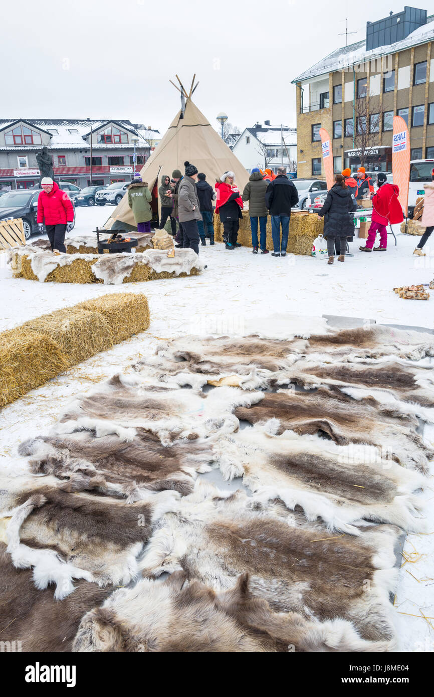 Sami con esposizioni di pellicce e tradizionale dimora lavvu, Kirkenes, contea di Finnmark Norvegia Immagini Stock