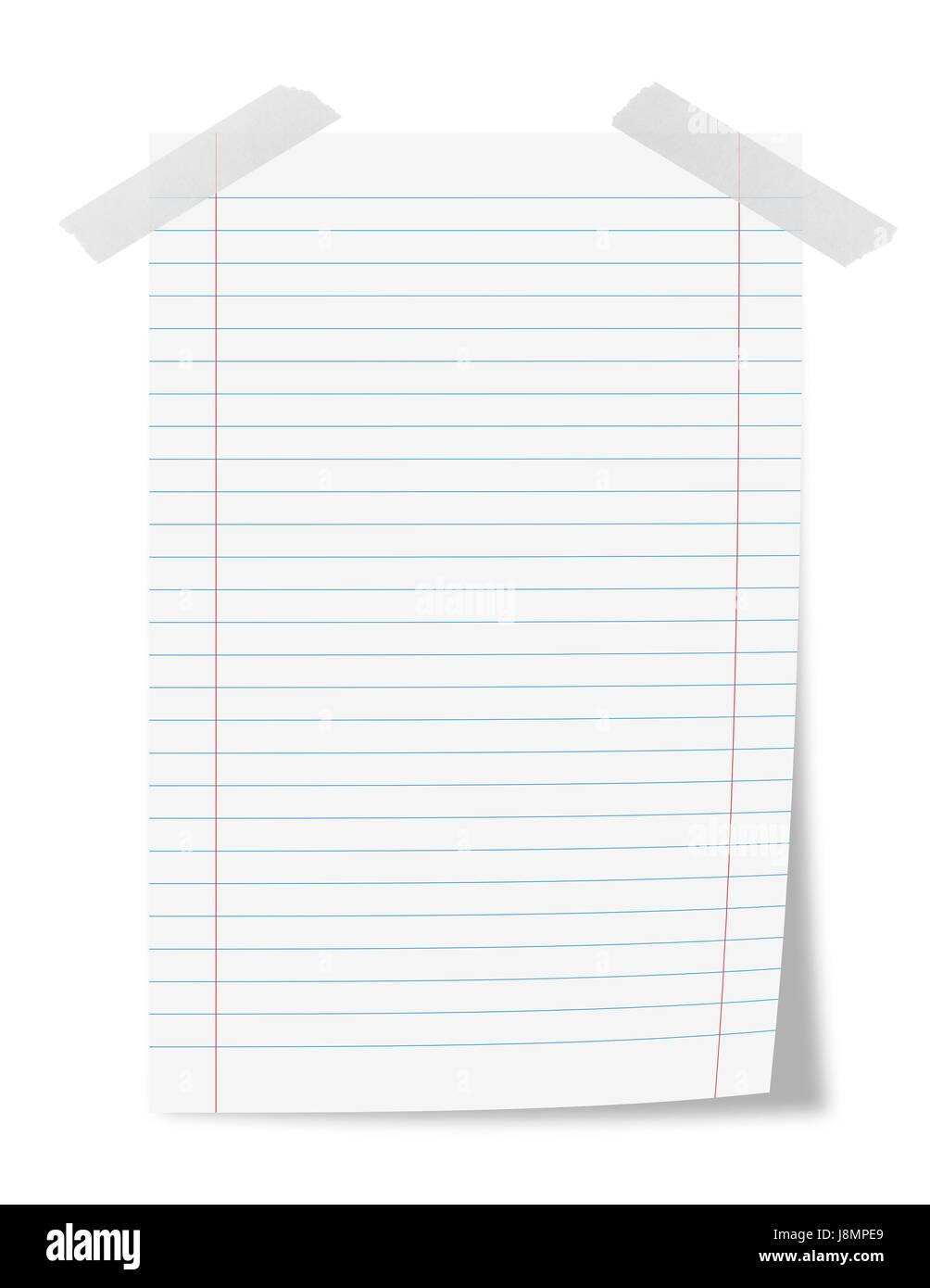 Foglio di carta con nastro adesivo isolato su bianco Immagini Stock