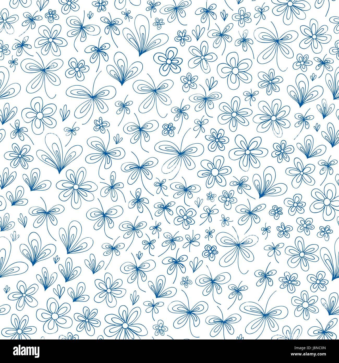 Natura stilizzata disegnata a mano modello astratto. Vettore sfondo senza giunture. Immagini Stock