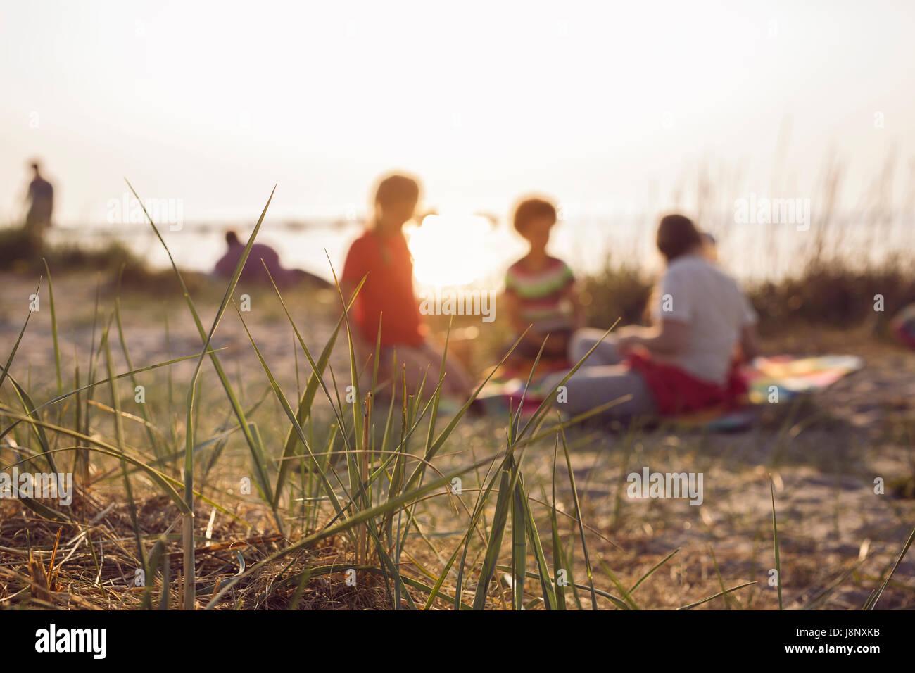 Le persone aventi picnic sulla spiaggia Foto Stock
