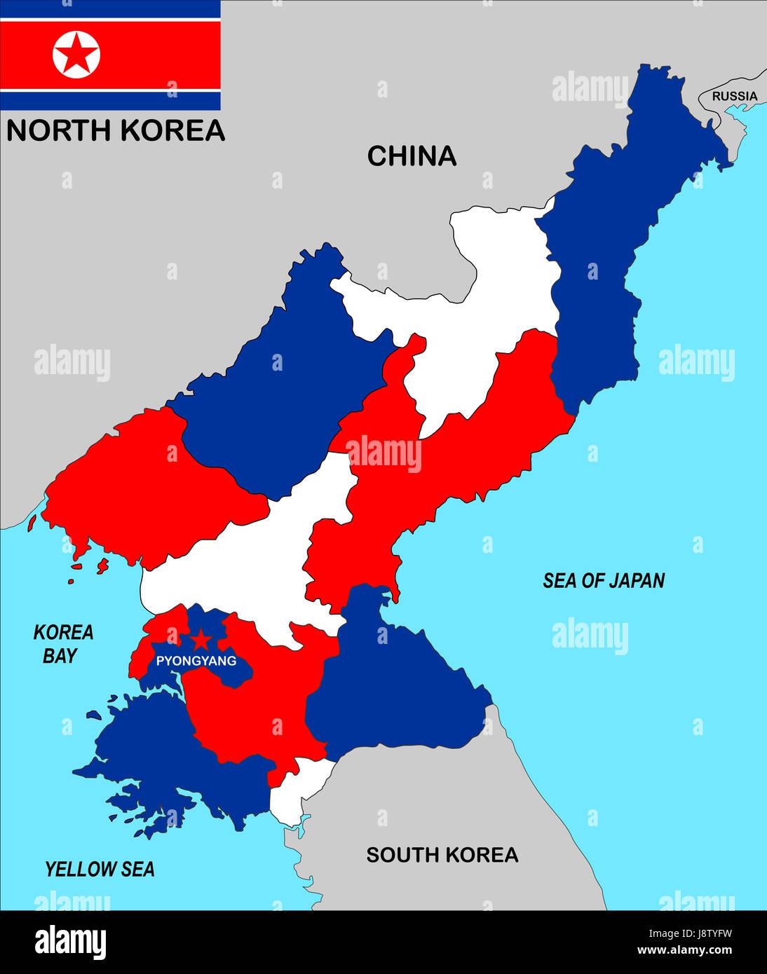 Cartina Mondo Corea.A Nord Corea Mappa Atlas Mappa Del Mondo Politico Nero Swarthy Foto Stock Alamy