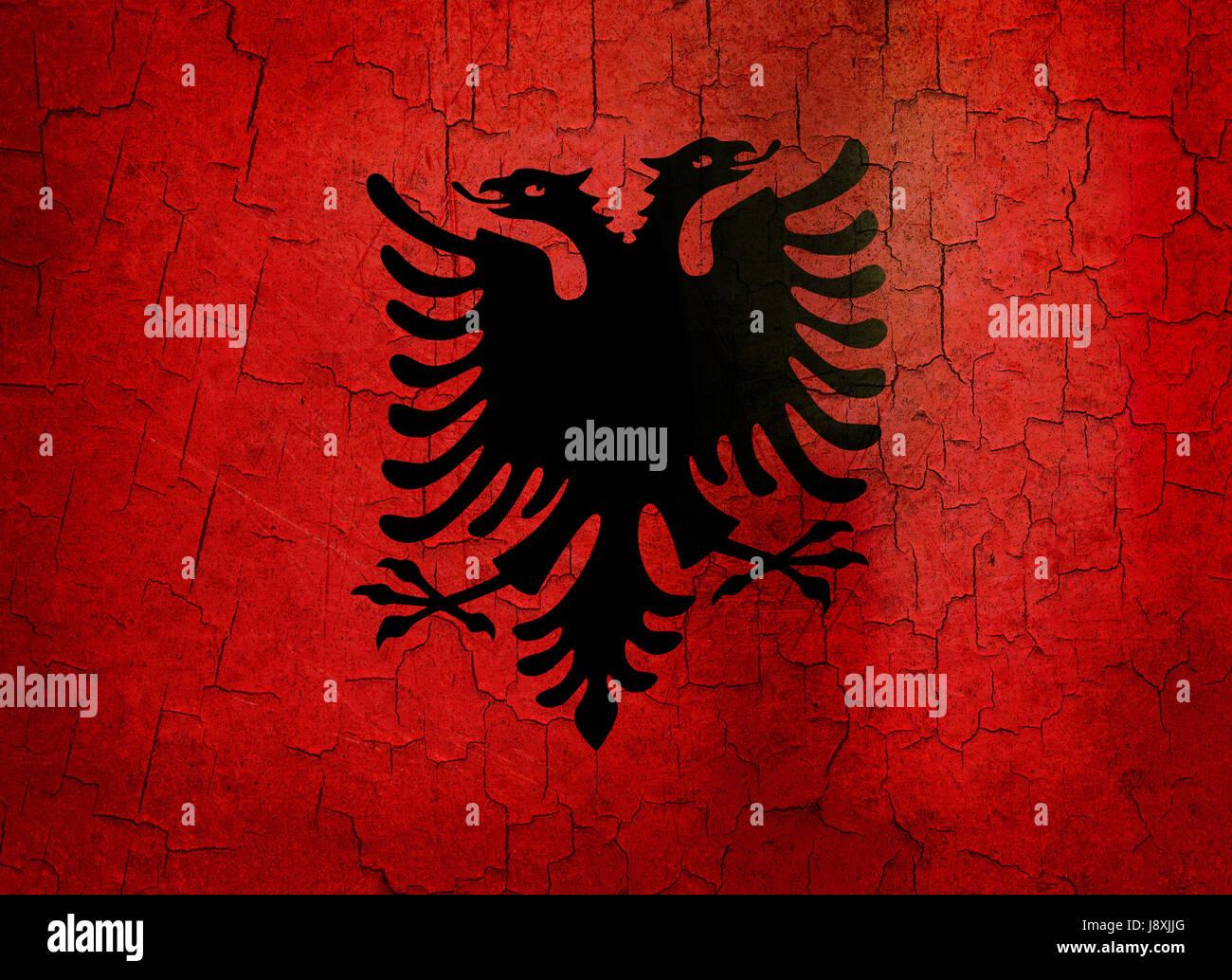 Leuropa Vintage Bandiera Albania Globe Il Pianeta Terra Mondo