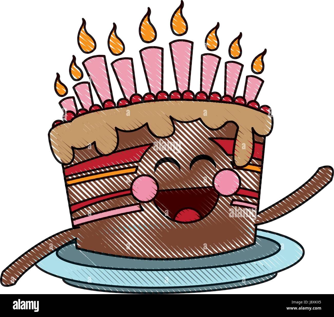 Torta Compleanno Stilizzata.Kawaii Candela Torta Di Compleanno Festa Immagine E Vettoriale Alamy