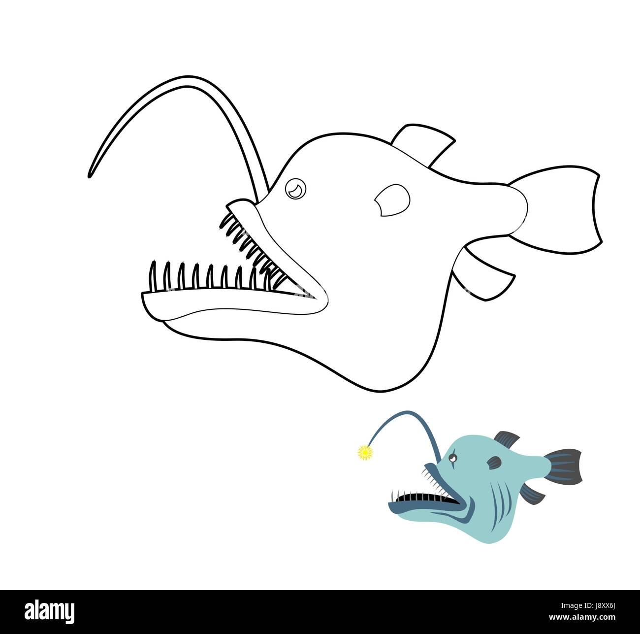 Deep Sea Rana Pescatrice Libro Da Colorare Pesce Mostro Dalle