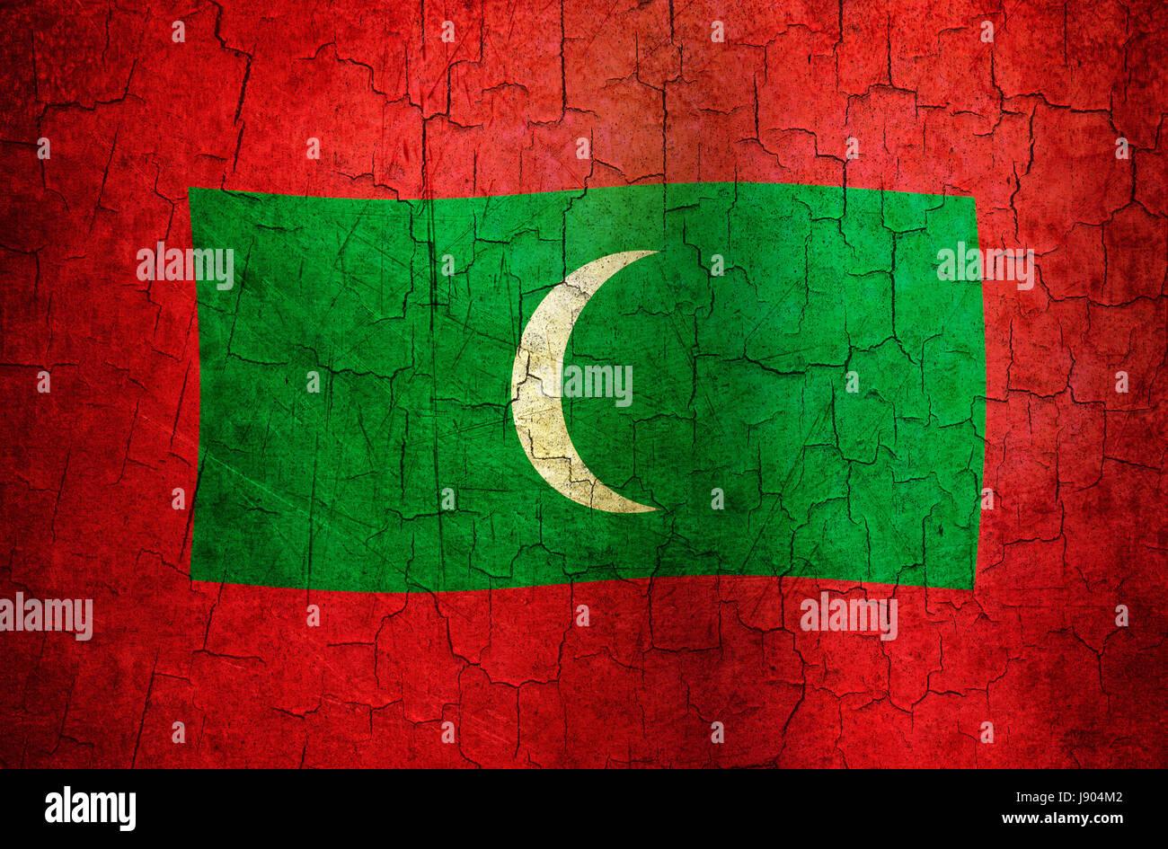 Asia Vintage Maldive Bandiera Asiatici Globe Il Pianeta Terra