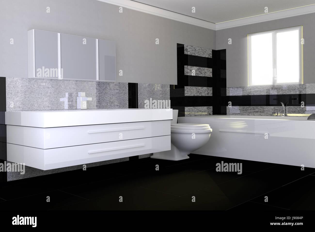 Bagno Moderno Bianco E Nero.Bagno Moderno Con Il Nero E Il Bianco Della Pietra Di Granito Foto