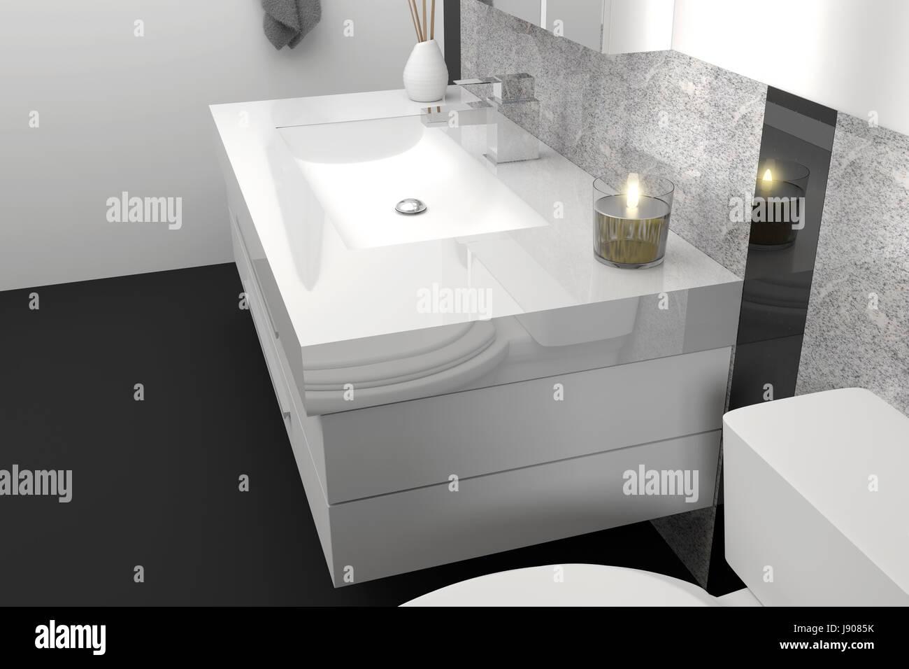 3D rendering di moderno bagno elegante con il nero e il bianco della pietra di granito Immagini Stock