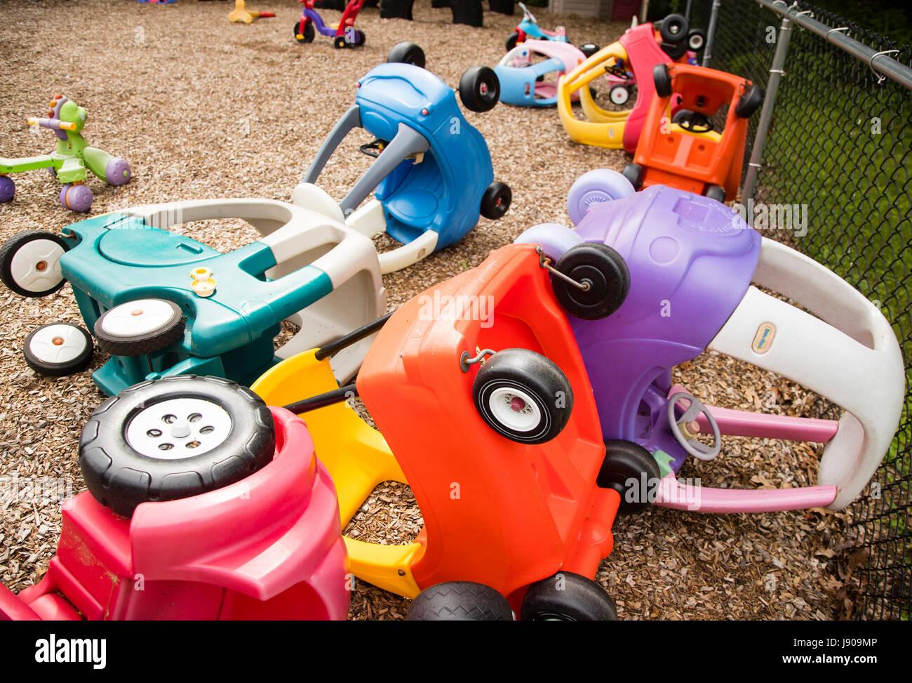 Giocattoli per bambini in una scuola materna nel New Jersey Immagini Stock