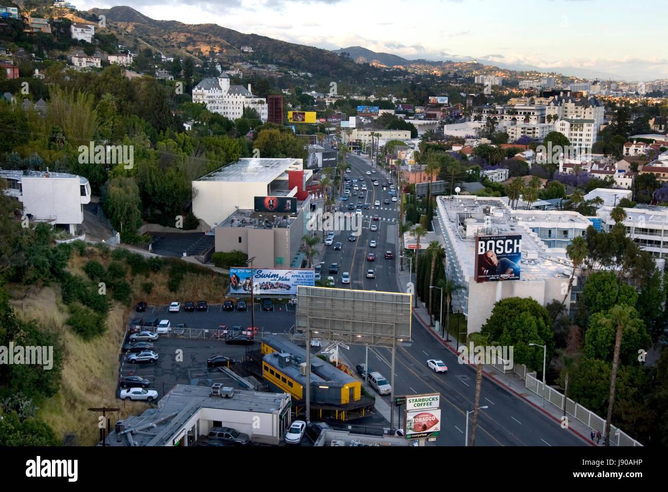 Vista Aérea Del Strip Las: Vista Aerea Sopra Il Sunset Strip In West Hollywood