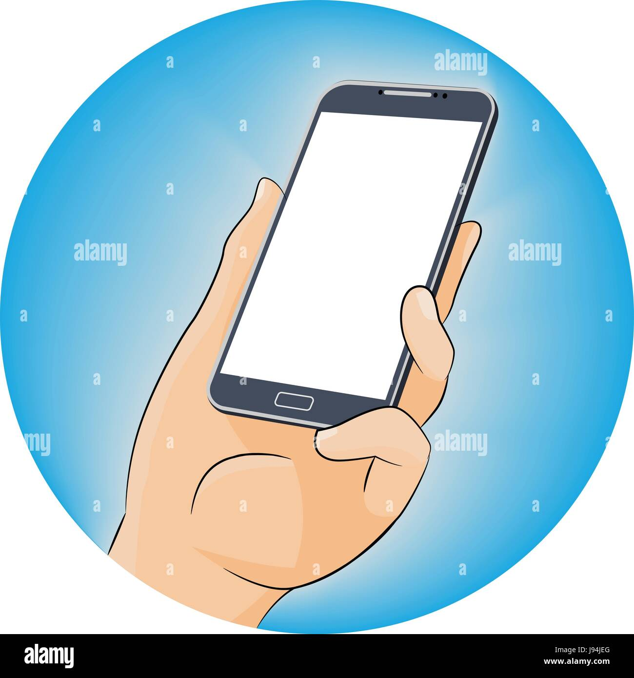 Foratura lato nero telefono cellulare utilizzando Mobile smart phone, design piatto stile. illustrazione vettoriale Immagini Stock