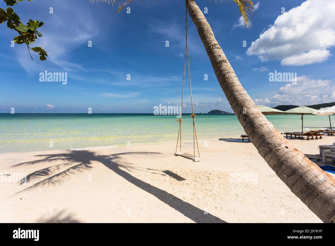 Swing attaccato a un albero di palma nell'idilliaco Bai Sao beach nell'isola di Phu Quoc in Vietnam nel Immagini Stock