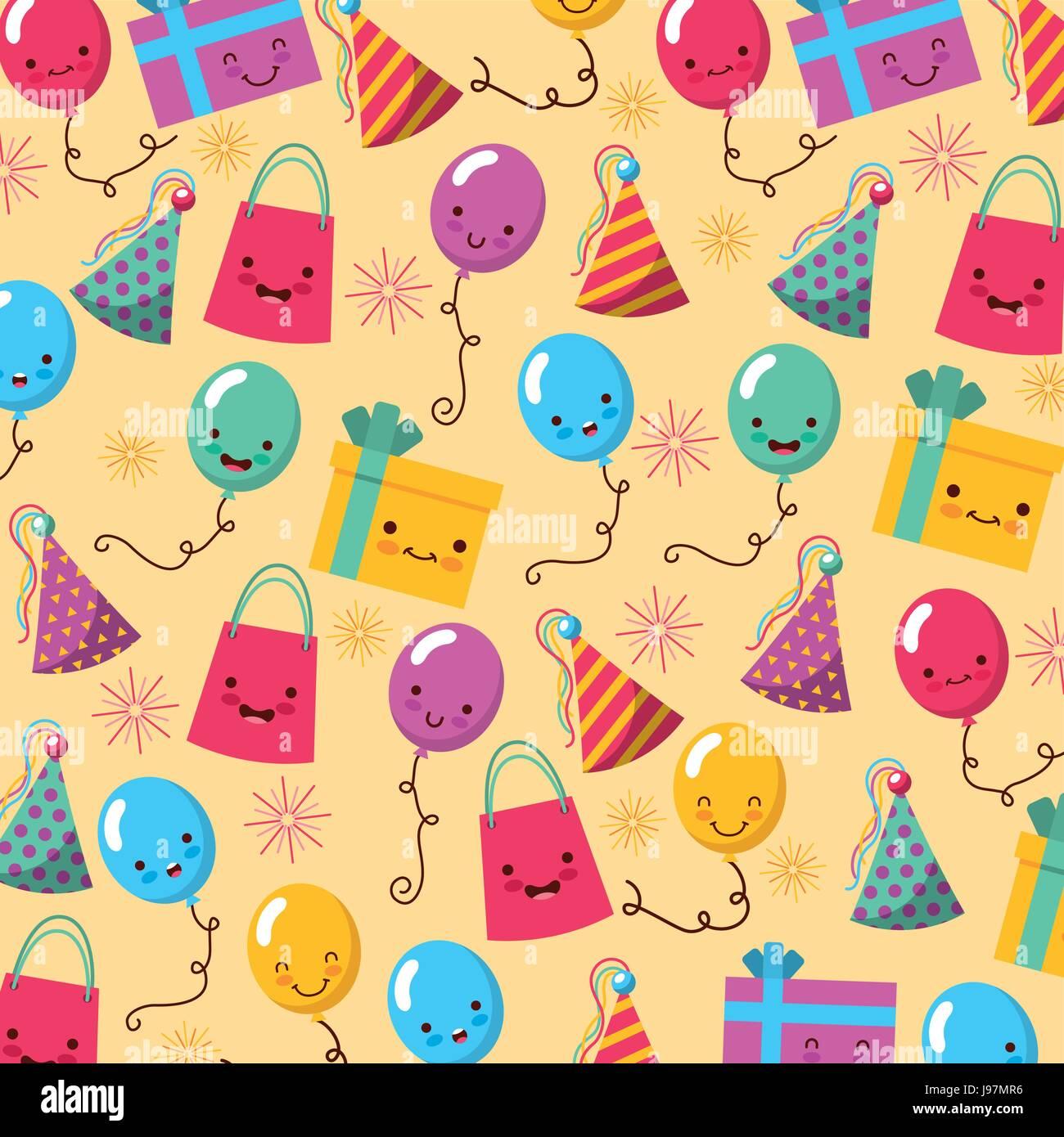 Buon compleanno kawaii set di icone Immagini Stock