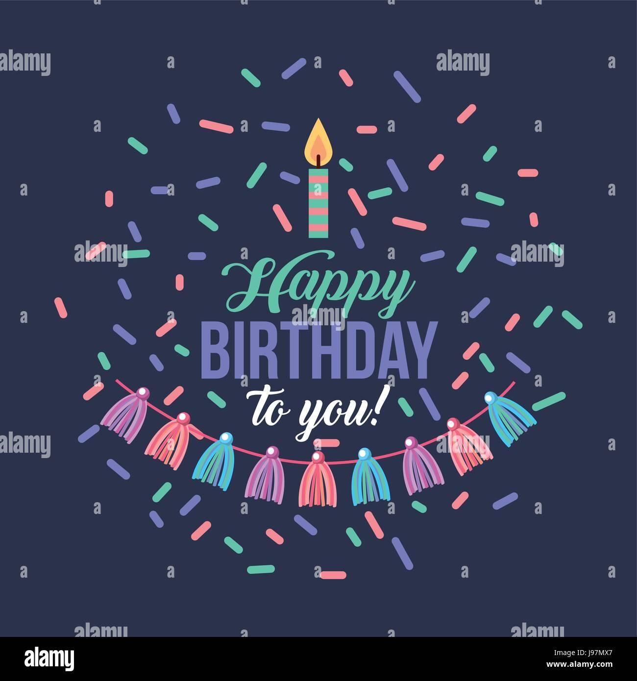 Buon compleanno kawaii sfondo Immagini Stock