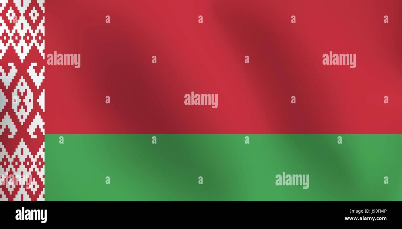 Bandiera della Bielorussia - illustrazione vettoriale Immagini Stock