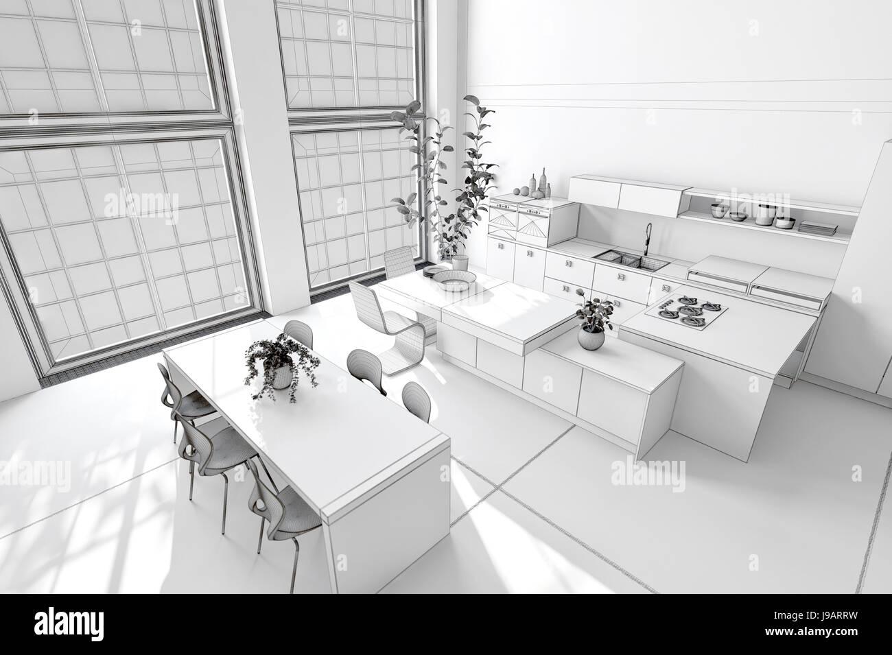 Cucina Componibile Con Tavolo E Sedie.Pulire Fresca Cucina Bianca E Area Da Pranzo Con Decorazioni