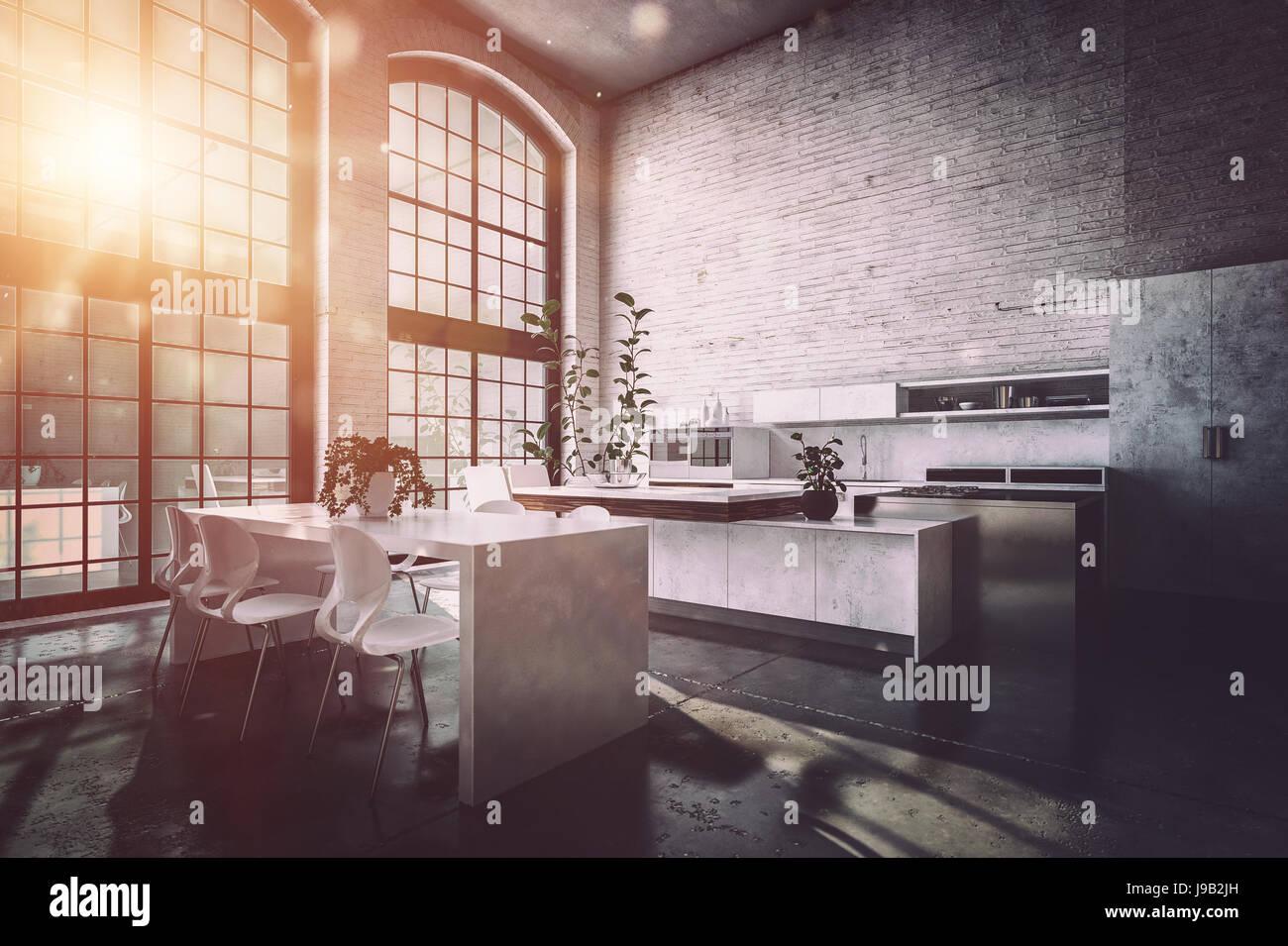 Mobiletto Sala Da Pranzo sunrise in una grande e spaziosa cucina moderna diner con