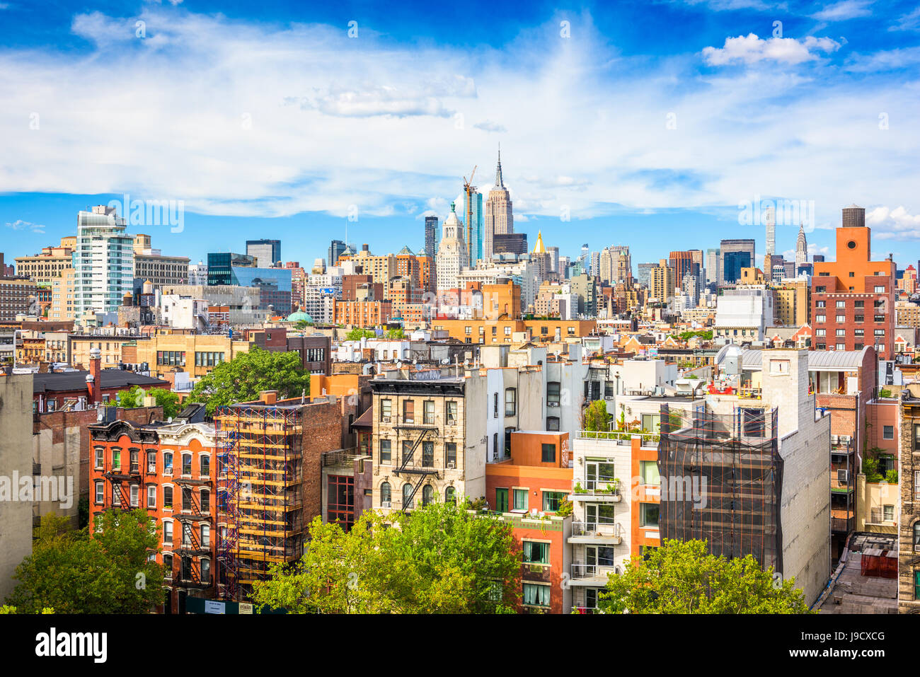 New York City View del Lower East Side verso il Midtown Manhattan. Immagini Stock