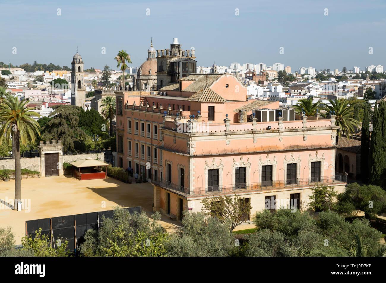 Palacio de Villavicencio all'interno dell'Alcazar, Jerez de la Frontera, la provincia di Cadiz Cadice, Andalusia, Foto Stock