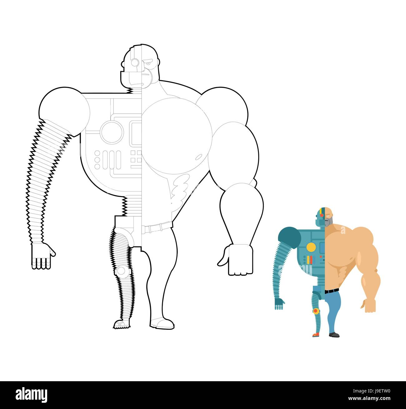 Robot Bionico Libro Da Colorare Cyber Uomo Del Futuro Lo Scheletro