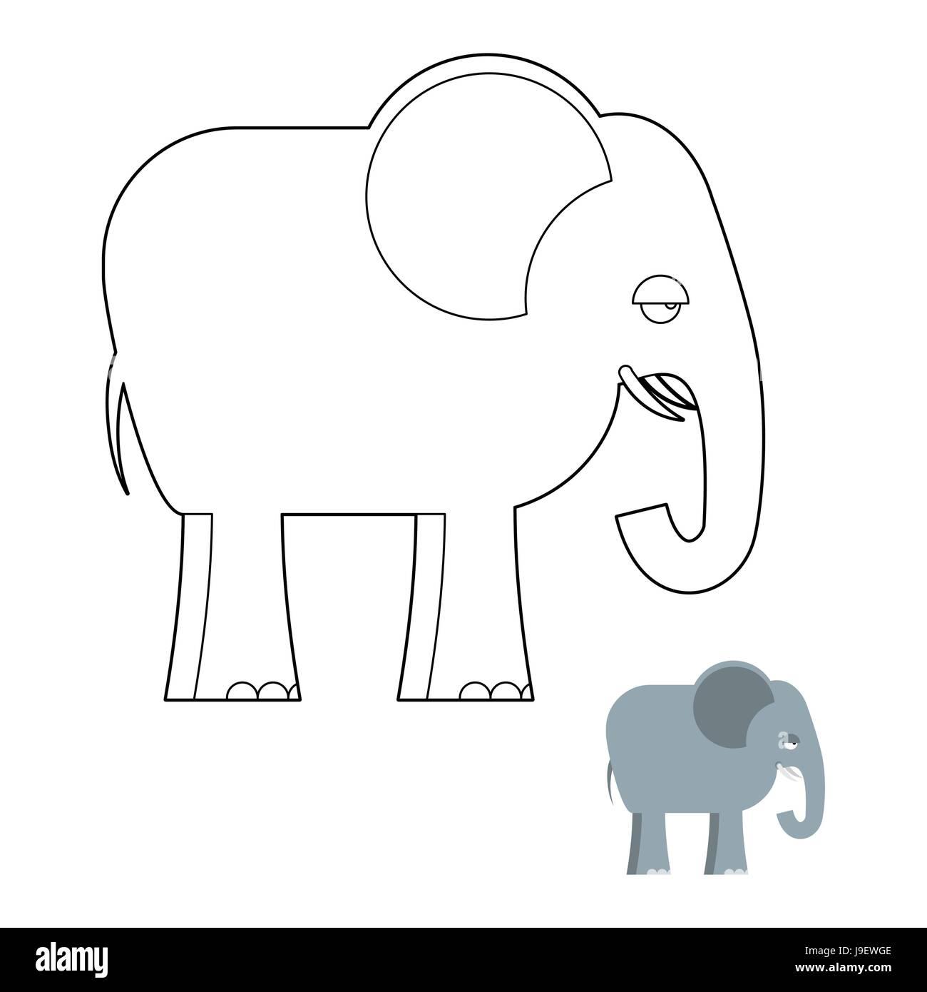Elephant Libro Da Colorare Grosso Animale Della Giungla Con Lungo