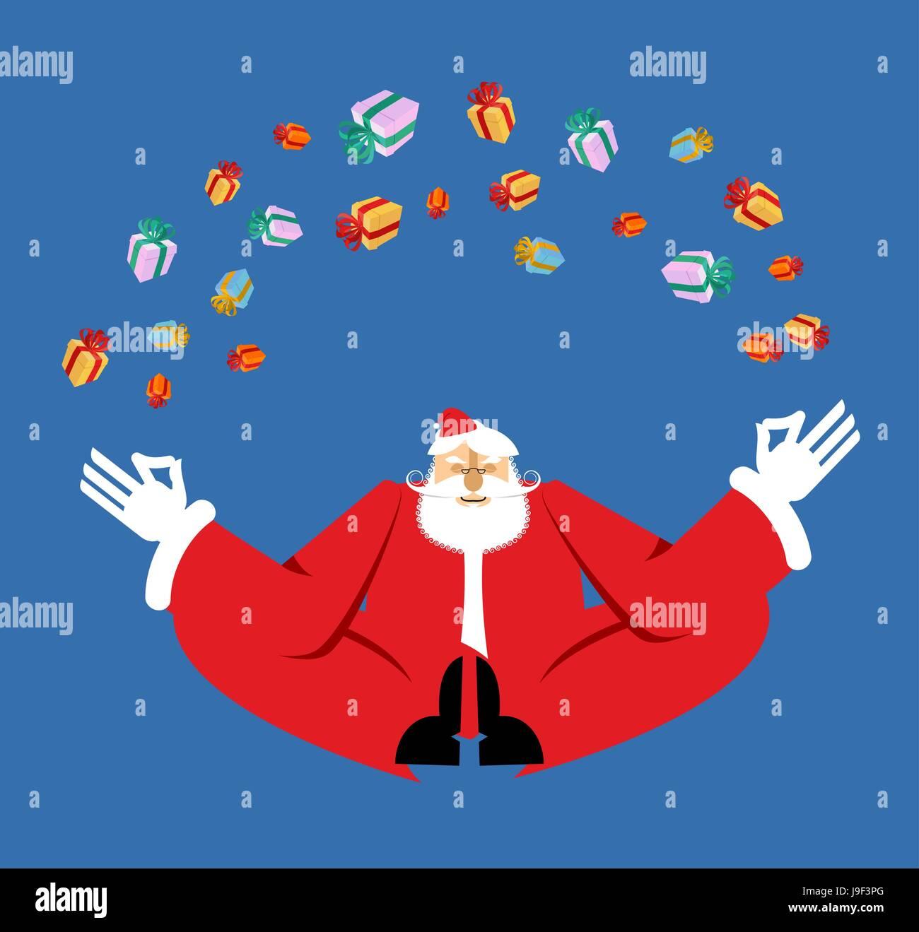Immagini Natale Zen.Santa Claus Yogi Di Meditazione E Di Doni Il Natale Di Yoga Anno Nuovo Zen Nonno In Posizione Del Loto Xmas Illuminismo E Relax Immagine E Vettoriale Alamy