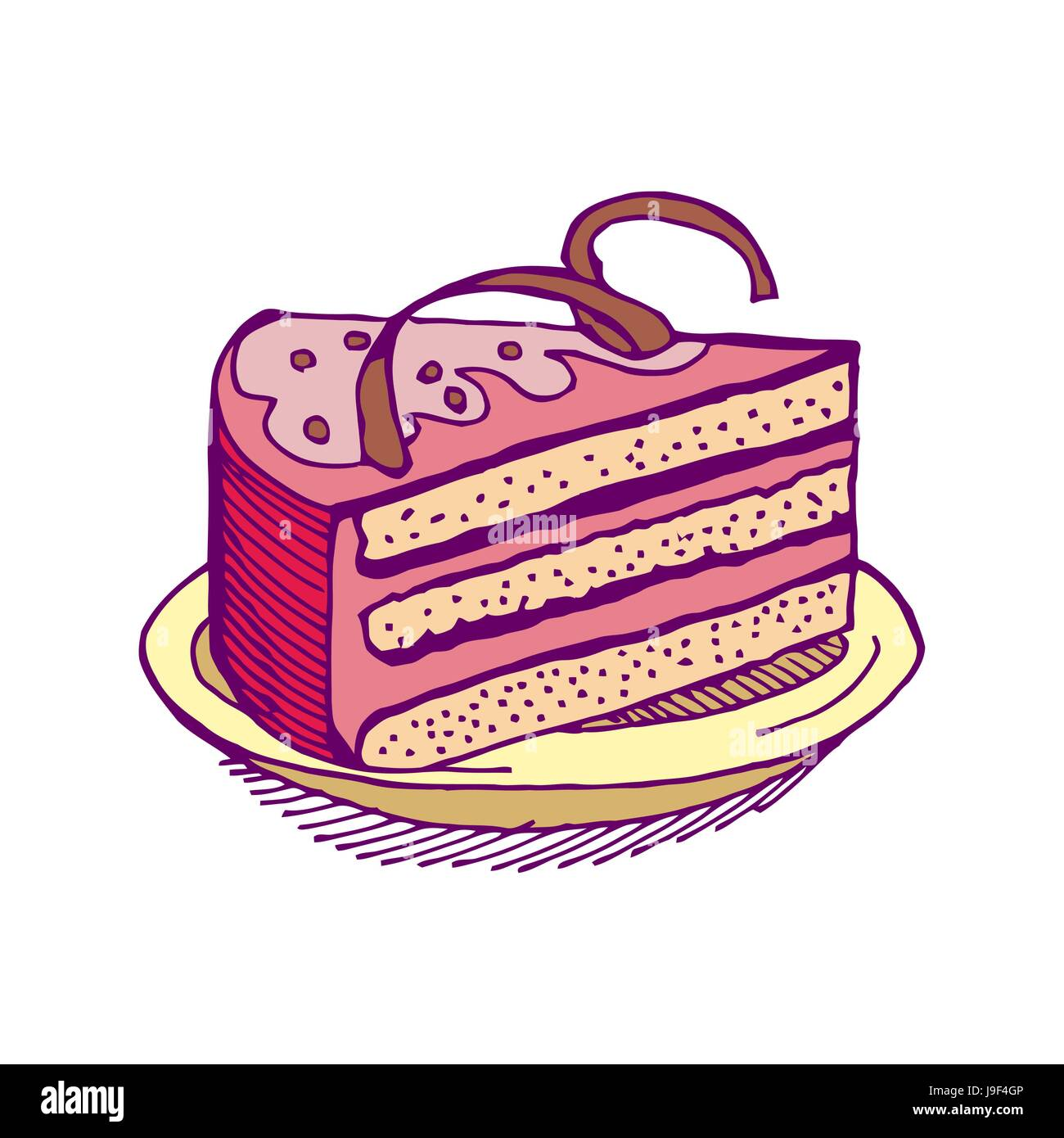 Piece Cake Hand Drawing Pie Isolated Immagini Piece Cake Hand