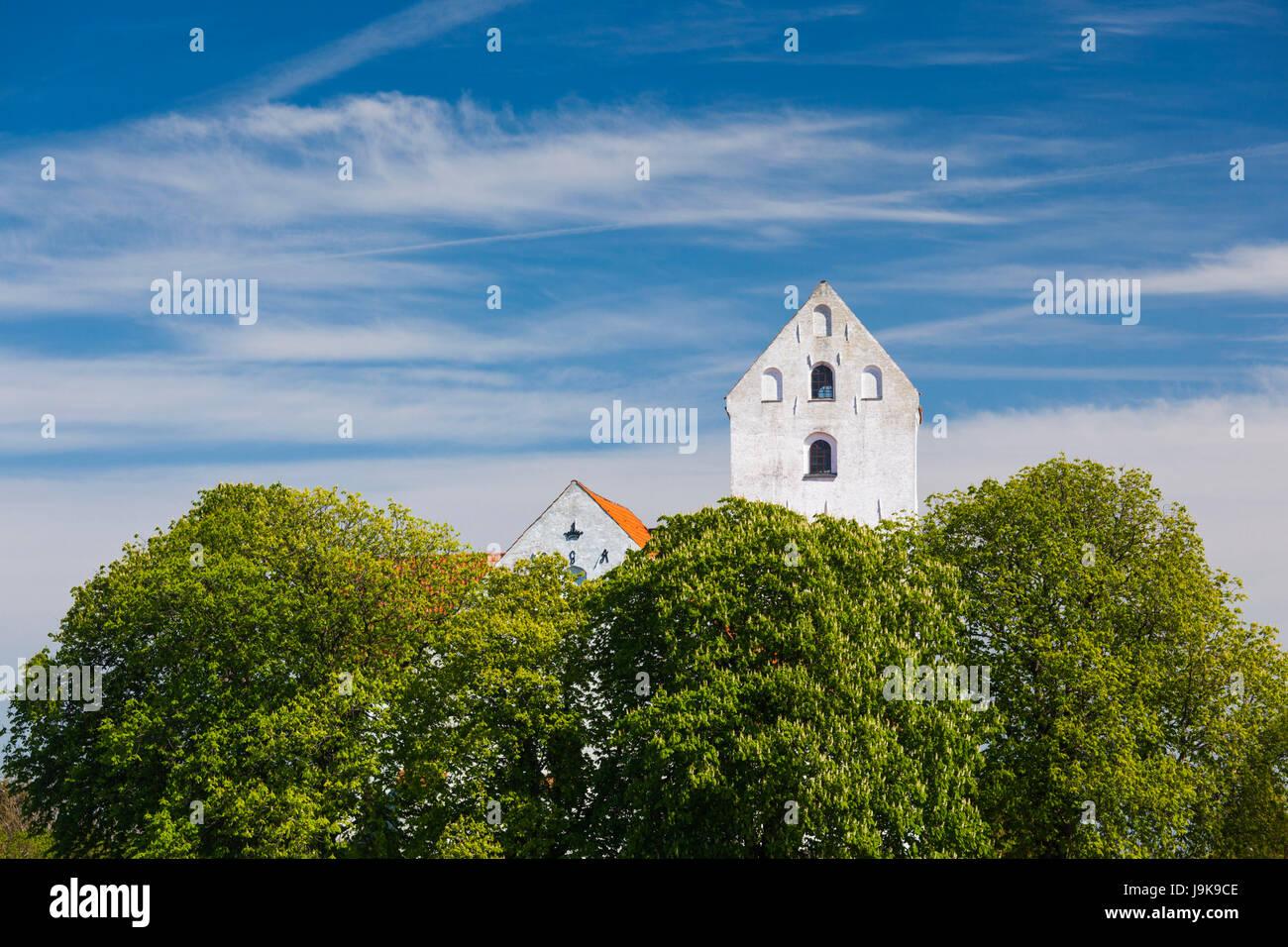 Danimarca, Langeland, umile, umile villaggio chiesa Immagini Stock