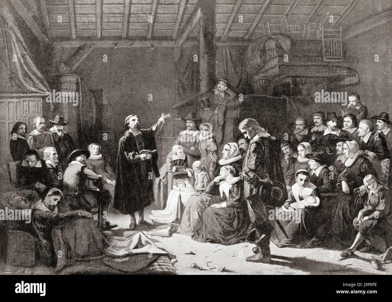 Il primo incontro del pellegrino padri del xvii secolo. Da Hutchinson nella storia delle nazioni, pubblicato 1915. Immagini Stock