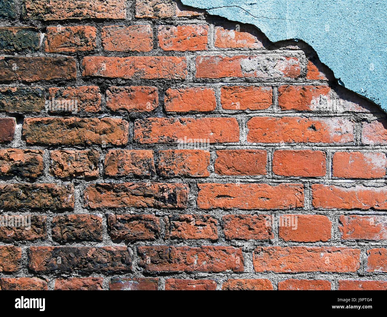 Mattone Muro Difensivo Goccia Rosso Intonaco Blu Medium Close Up