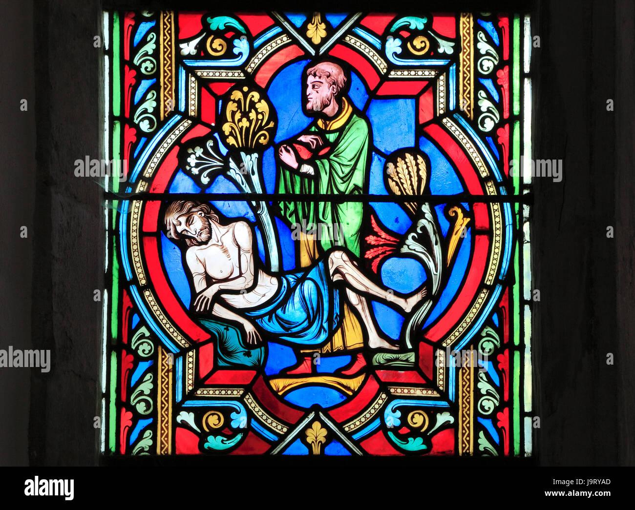 """Il Buon Samaritano parabola, un sacerdote """"passa dall'altra parte"""", ignorando il viaggiatore morente, Immagini Stock"""