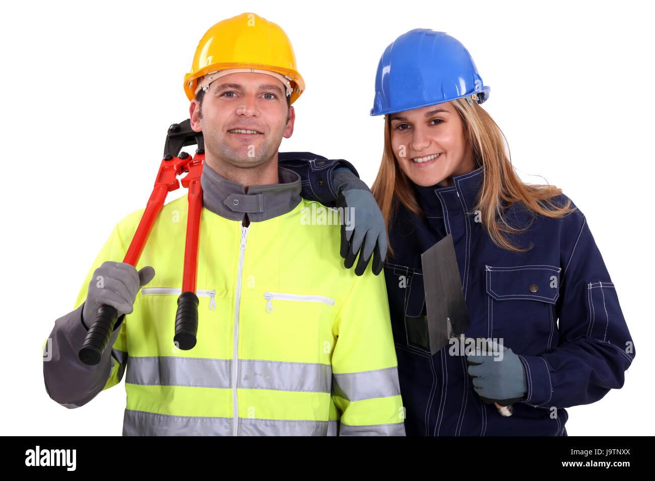 Blu, il collare, costruzione, donna blu, strumenti, lavoro, artigiano, tradesman, Immagini Stock
