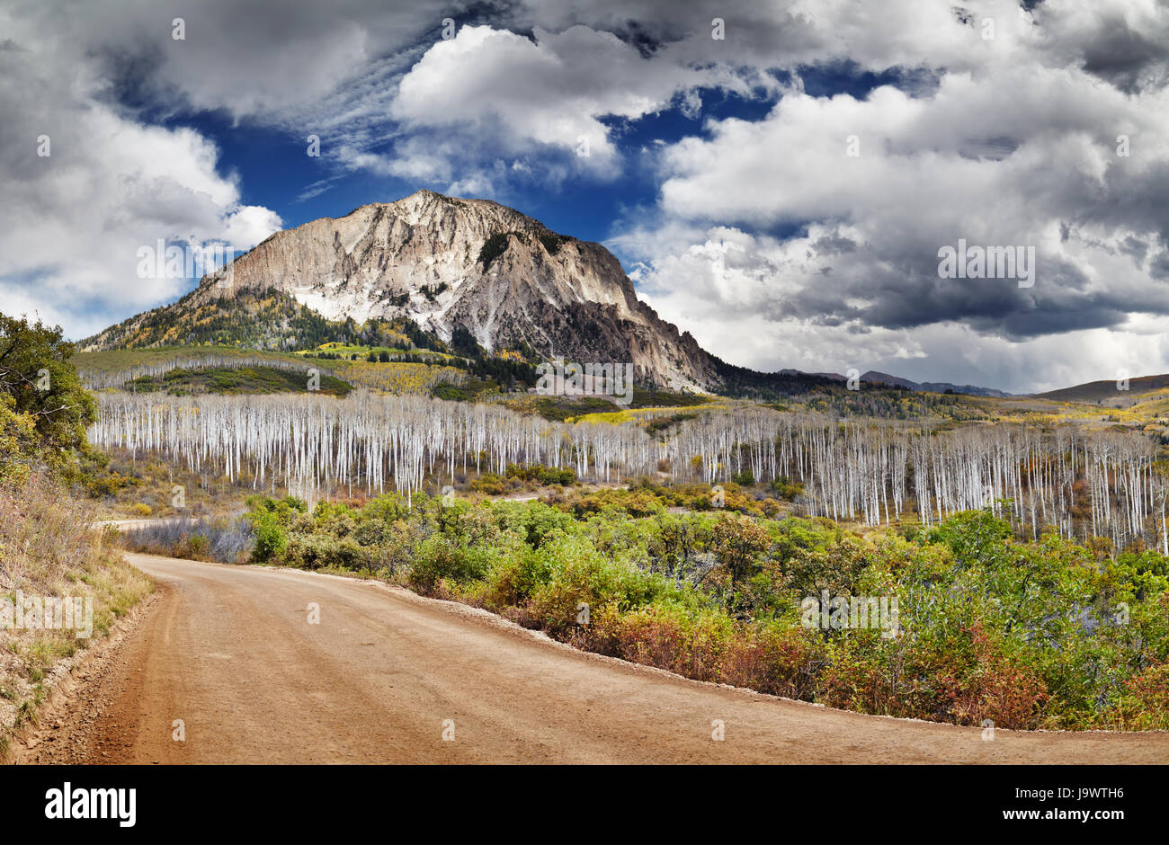 Kebler Pass e Marcellina Mountain View, Crested Butte, Colorado, STATI UNITI D'AMERICA Immagini Stock