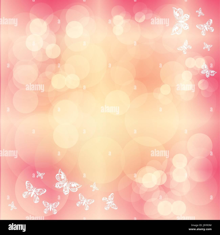 Vecor Sfondo Rosa Con Cerchi Bianchi E Silhouette A Farfalla