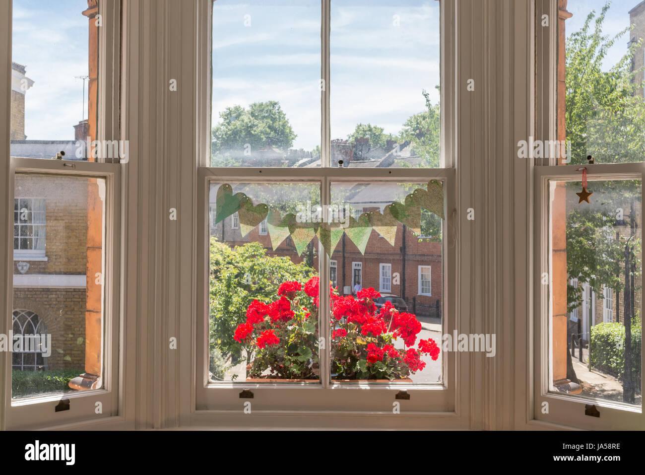 Davanzale Interno Della Finestra interno del vittoriano casa britannica con il vecchio legno