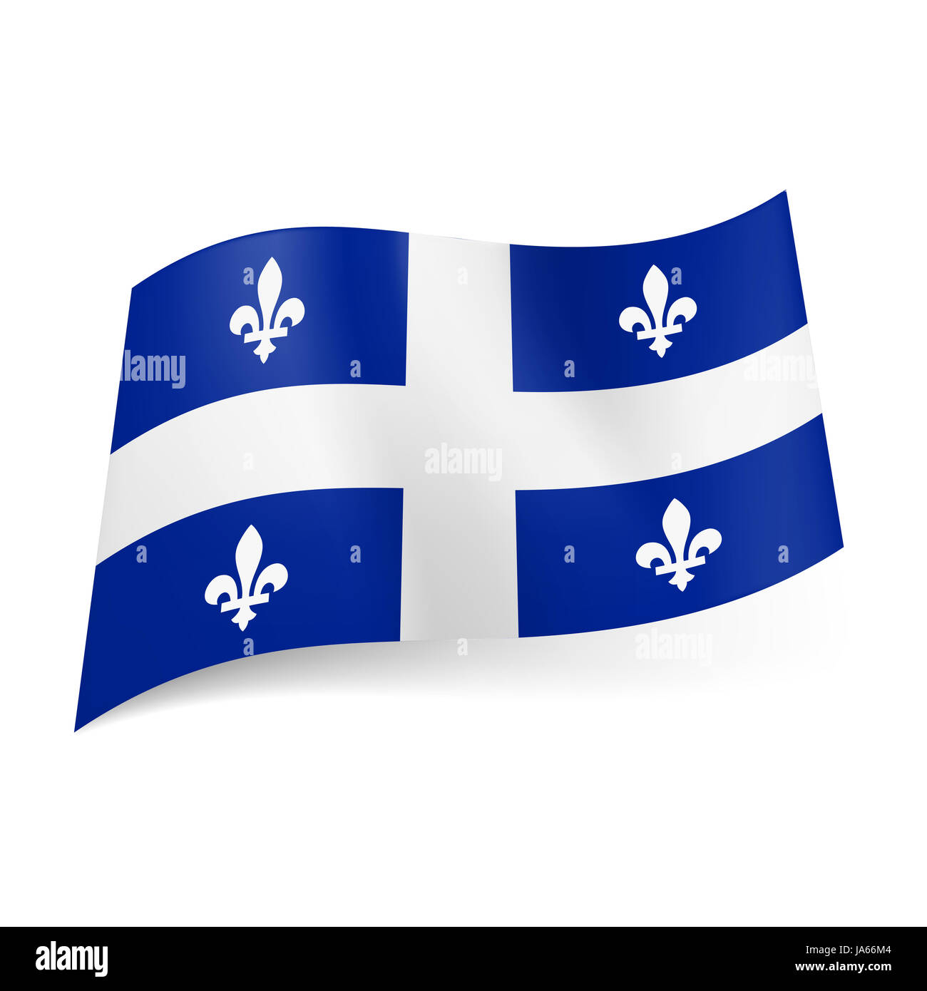 Bandiera Del Quebec Provincia Del Canada Centrale A Croce Bianca E