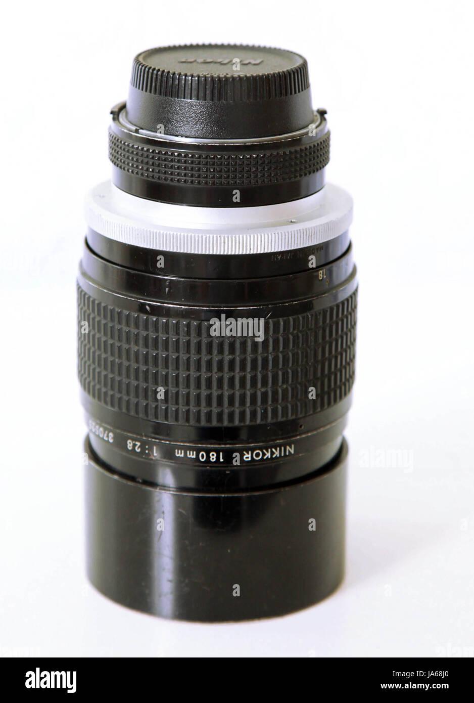 Nikkor 180mm f2.8 teleobiettivo, messa a fuoco manuale Immagini Stock