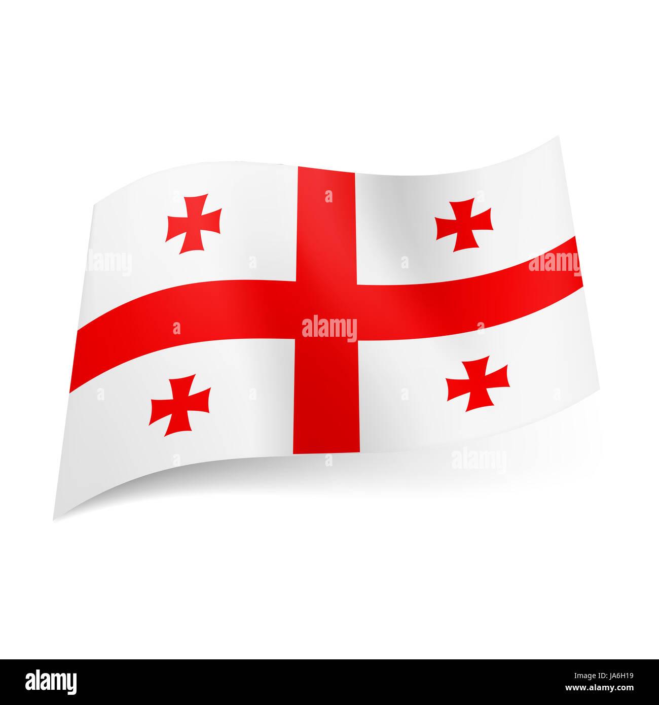 Bandiera Nazionale Della Georgia Centrale A Croce Rossa Con Quattro